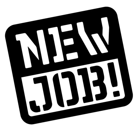 New job stencil stamp. Rectangular bold sign, label