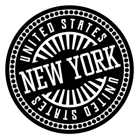 New York black and white badge. Geographic series.