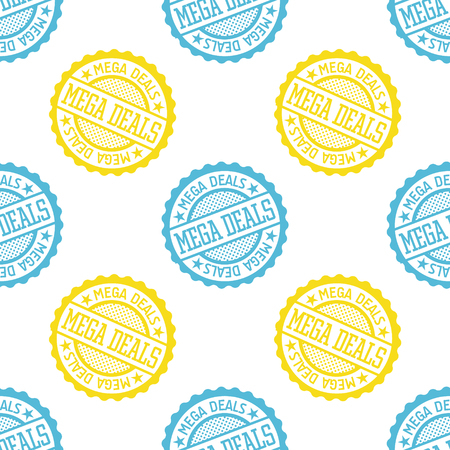 Mega Deals seamless pattern. Seamless badge pattern, backdrop for your design.