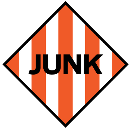 Junk fictitious warning sign, realistically looking sign