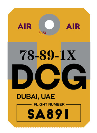 dubai realistically looking airport luggage tag illustration  イラスト・ベクター素材