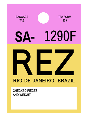 Rio de Janeiro realistically looking airport luggage tag