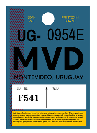 Montevideo realistically looking airport luggage tag illustration