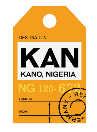 Kano realistically looking airport luggage tag illustration Illustration