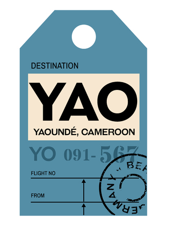 Yaounde realistically looking airport luggage tag illustration