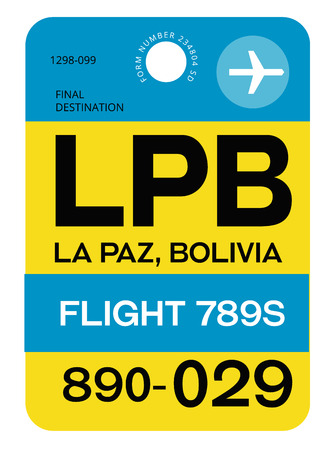La Paz realistically looking airport luggage tag