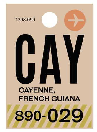 Cayenne realistically looking airport luggage tag illustration
