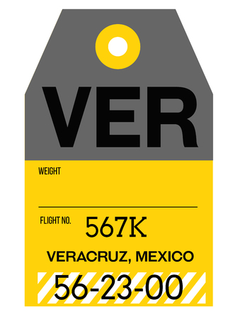 Veracruz realistically looking airport luggage tag illustration 일러스트