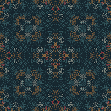 Geometric swirls intricate seamless pattern, abstract colorful background, texture.