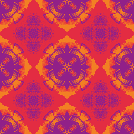 Grunge jungle feel geometric seamless pattern, abstract colorful background, texture.