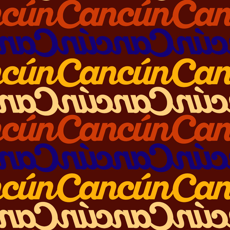 Cancun, mexico seamless pattern, typographic city background texture Иллюстрация