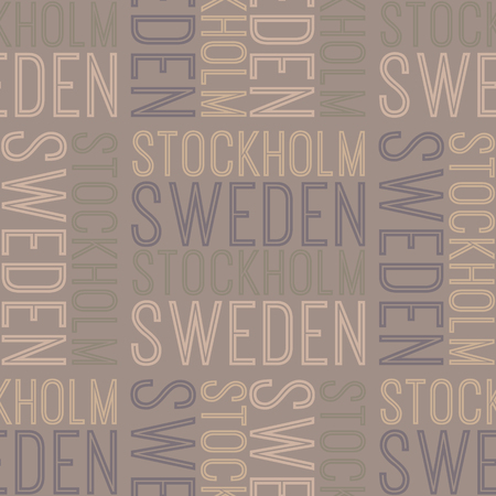 Stockholm, Sweden seamless pattern, typographic city background texture Archivio Fotografico - 112174424