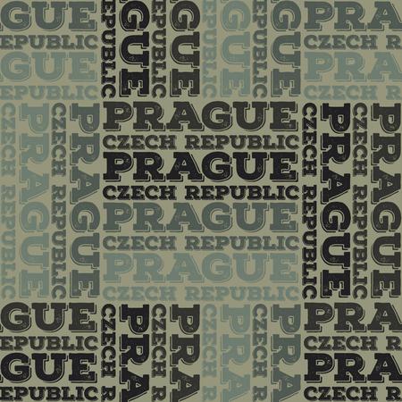 Prague, Czech Republic seamless pattern, typographic city background, texture