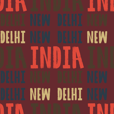 New Delhi, India seamless pattern, typographic city background, texture Ilustrace
