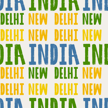 New Delhi, India seamless pattern, typographic city background, texture Ilustração
