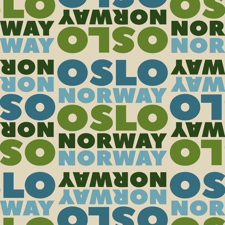 Oslo, Norway seamless pattern, typographic city background texture Illustration