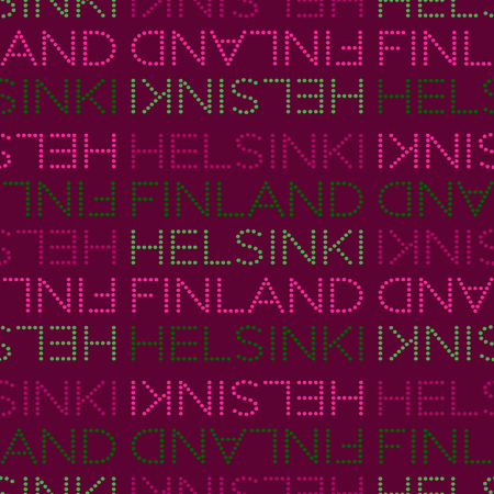 Helsinki, Finland seamless pattern, typographic city background texture