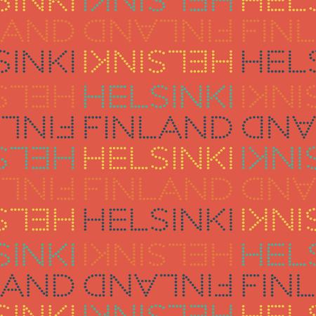 Helsinki, Finland seamless pattern, typographic city background texture