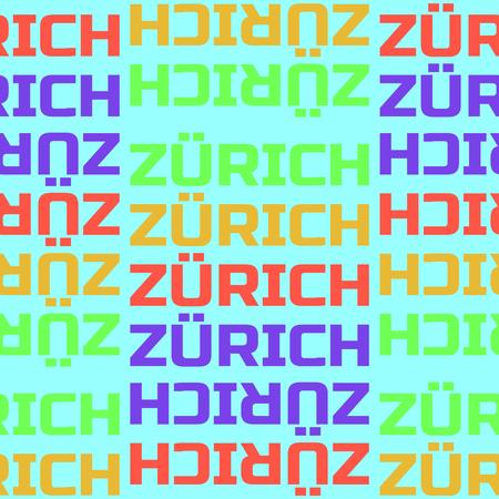 Zurich, Switzerland seamless pattern, typographic city background texture Ilustração