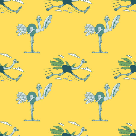 Funny ostrich seamless pattern, cartoon characters quirky background.