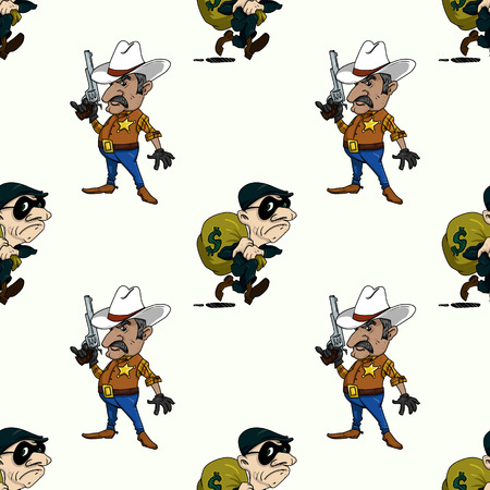 sheriff and thief seamless pattern, cartoon characters quirky background.
