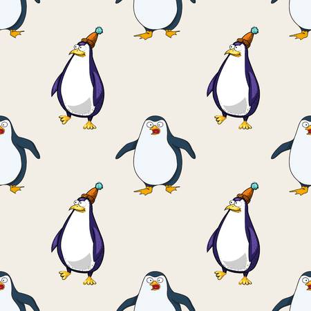 pinguins seamless pattern, cartoon characters quirky background.