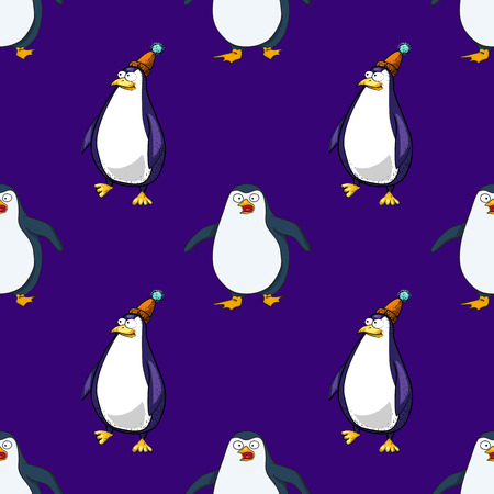 pinguins seamless pattern, cartoon characters quirky background. Illustration