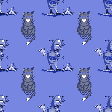 cat and broken robot seamless pattern, cartoon characters quirky background. Иллюстрация