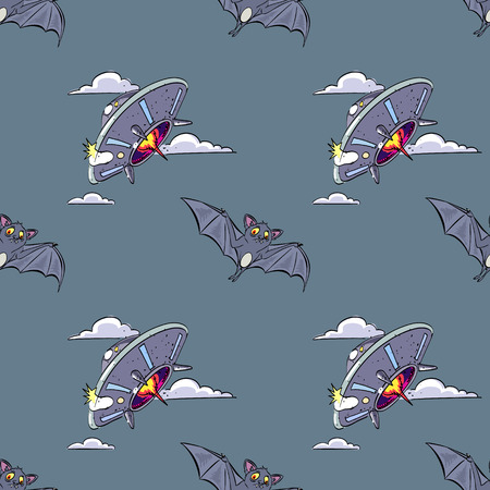 bat and flying saucer seamless pattern, cartoon characters quirky background.