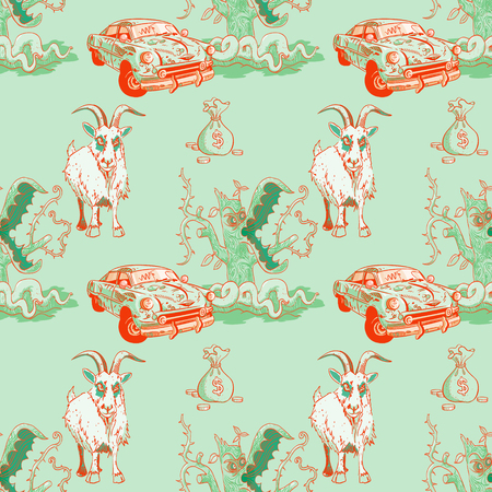 goat, rusty car, money and predator tree seamless pattern, cartoon characters quirky background. Illustration