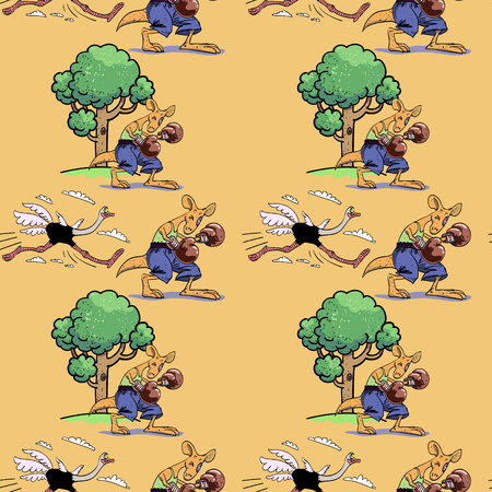 Running ostrich and boxing kangaroo seamless pattern, cartoon characters quirky background.