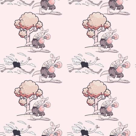 Ejecución de avestruz y canguro de boxeo de patrones sin fisuras, personajes de dibujos animados fondo peculiar. Ilustración de vector