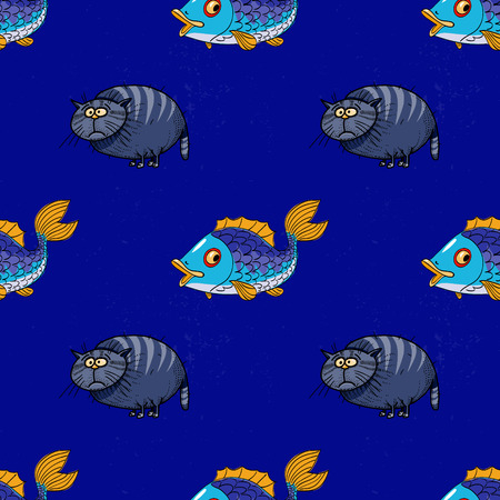 fat cat and fish seamless pattern, cartoon characters quirky background.