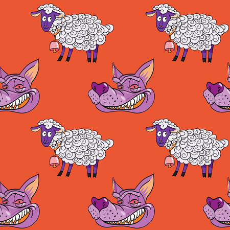 smiling wolf face and nice lamb seamless pattern, cartoon characters quirky background.