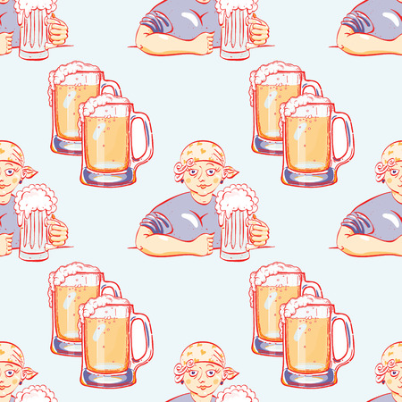 woman with a glass of beer seamless pattern, cartoon characters quirky background.