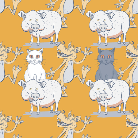 cat, pig and wolf seamless pattern, cartoon characters quirky background. Illustration