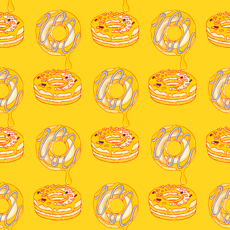 donuts seamless pattern, cartoon characters quirky background.