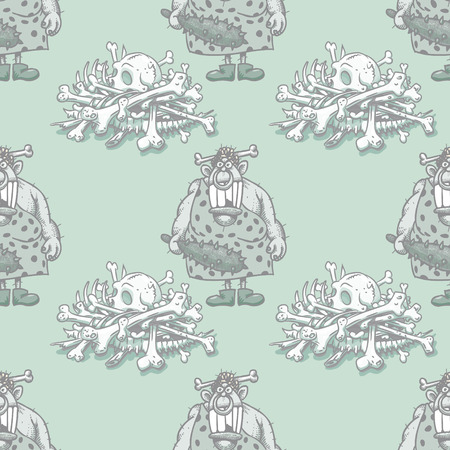 barbaric ancient woman and skeleton bones seamless pattern, cartoon characters quirky background.