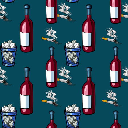 Cigarette, wine and trash bin seamless pattern, cartoon characters quirky background.