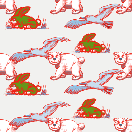 seagull, white bear and rabbit seamless pattern, cartoon characters quirky background. Illustration