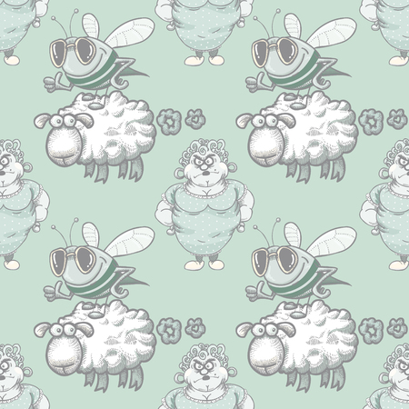 housewife, bee and farting sheep seamless pattern, cartoon characters quirky background.  イラスト・ベクター素材