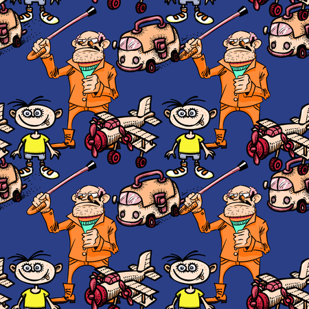 grandpa, kid, bus and airplane seamless pattern, cartoon characters quirky background.