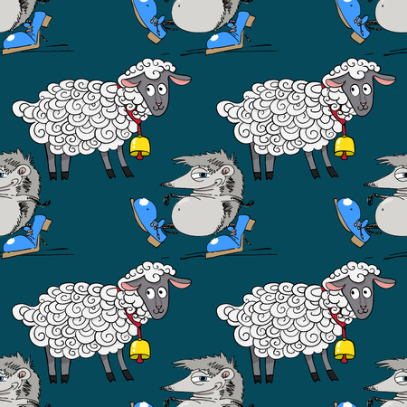 hedgehog and nice lamb seamless pattern, cartoon characters quirky background.  イラスト・ベクター素材