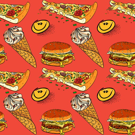 ice cream, pizza and hamburger seamless pattern