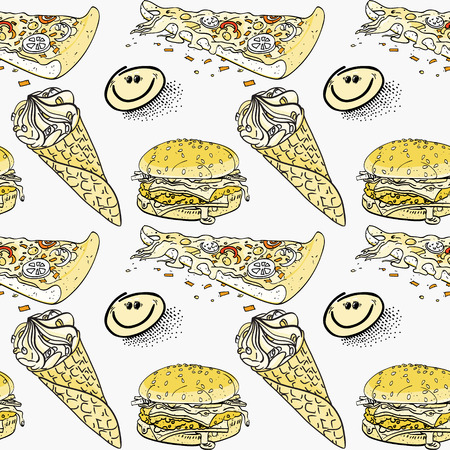 ice cream, pizza and hamburger seamless pattern, cartoon characters quirky background. Çizim