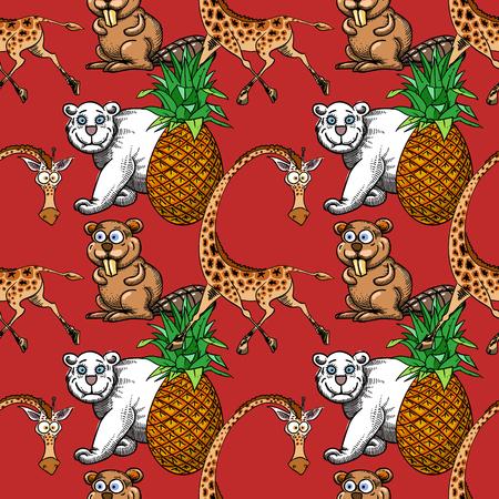 jirafa, piña y oso blanco, castor de patrones sin fisuras, personajes de dibujos animados de fondo peculiar.