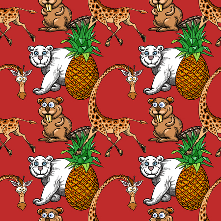 giraffe, pineapple and white bear, beaver seamless pattern, cartoon characters quirky background.