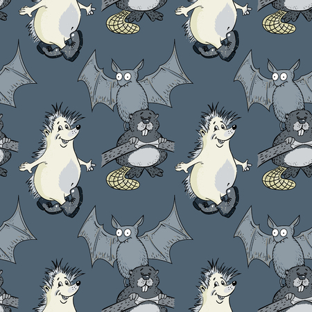 hedgehog, bat, beaver seamless pattern, cartoon characters quirky background Illustration