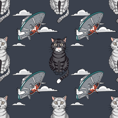 ufo, cat seamless pattern, cartoon characters quirky background