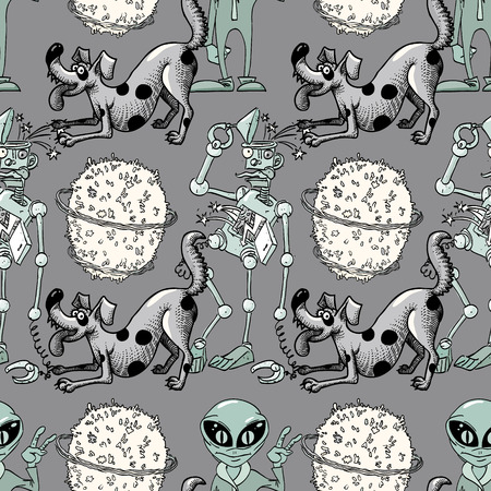 broken robot, funny dog, alien seamless pattern, cartoon characters quirky background. 矢量图片